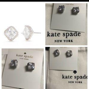 NEW Kate Spade Save the Date Princess cut studs